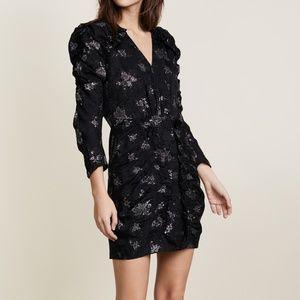 Rebecca Taylor Glitter Print Silk Jacquard Dress